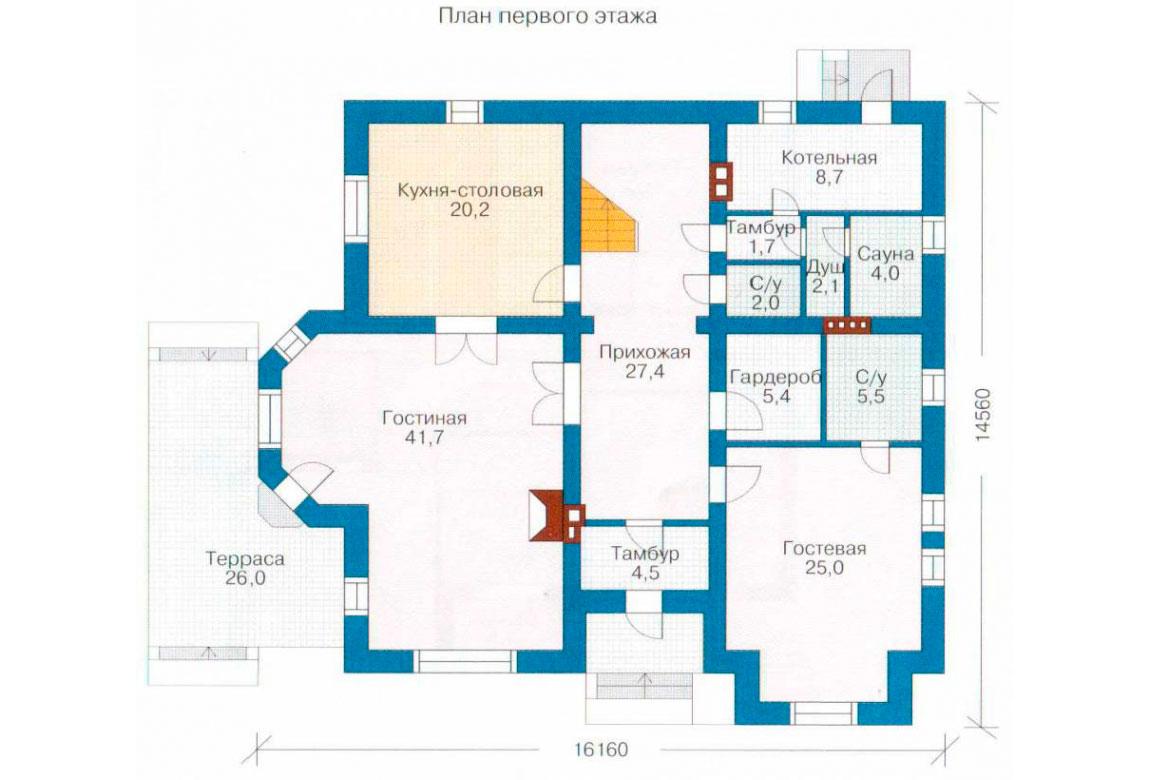 План N1 проекта кирпичного дома АСД-1051