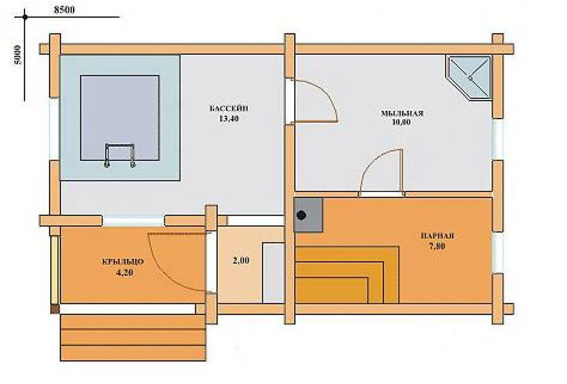 План N1 проекта бани АСД-1518