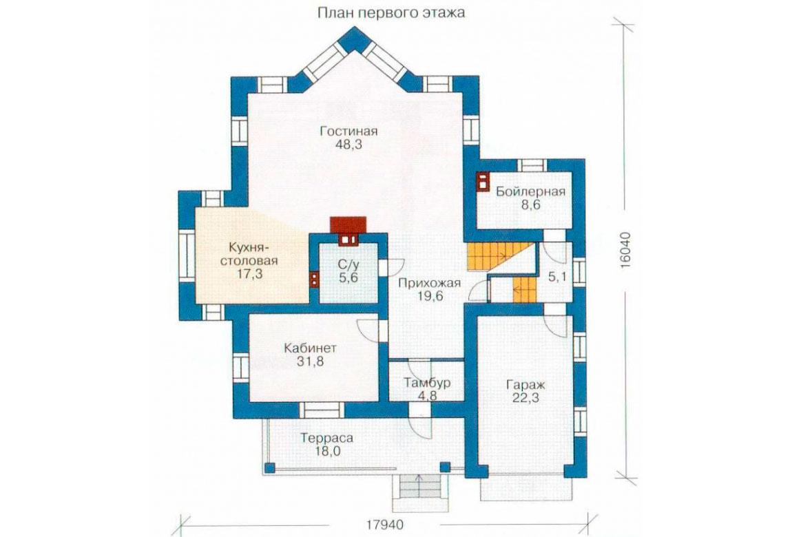 План N1 проекта кирпичного дома АСД-1052