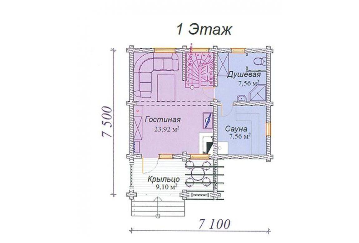 План N1 проекта дома из клееного бруса АСД-Агат