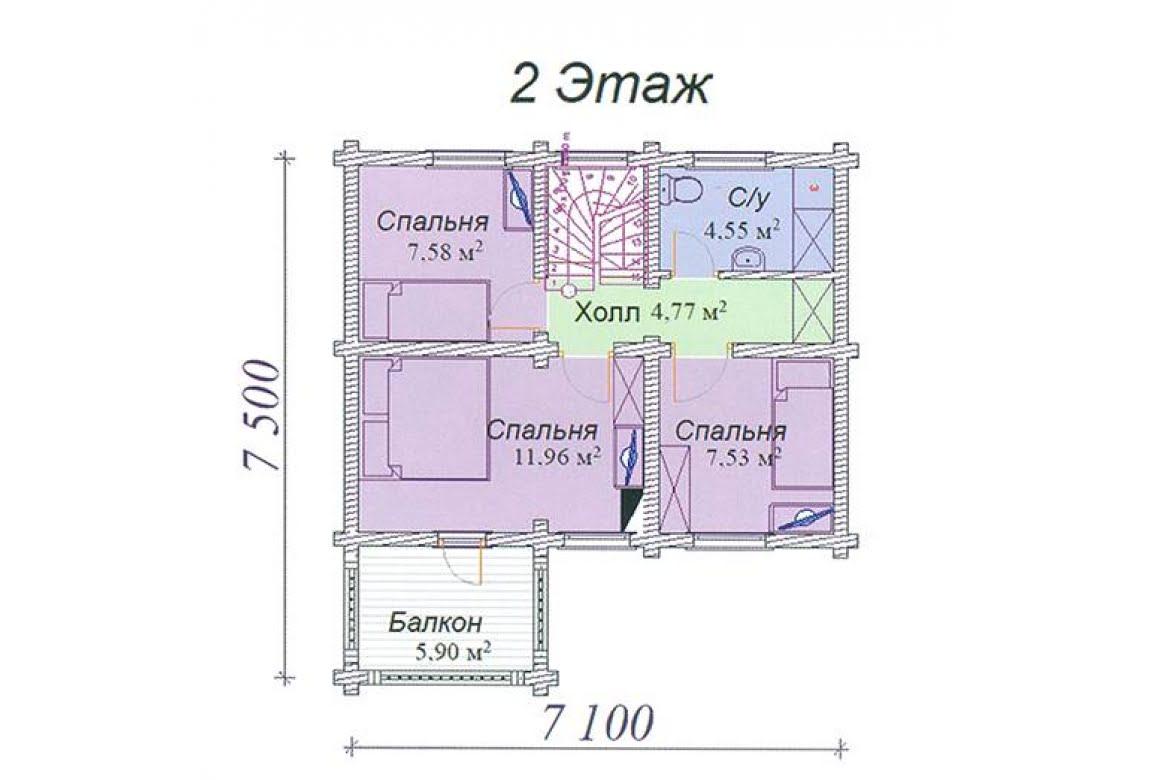 План N2 проекта дома из клееного бруса АСД-Агат