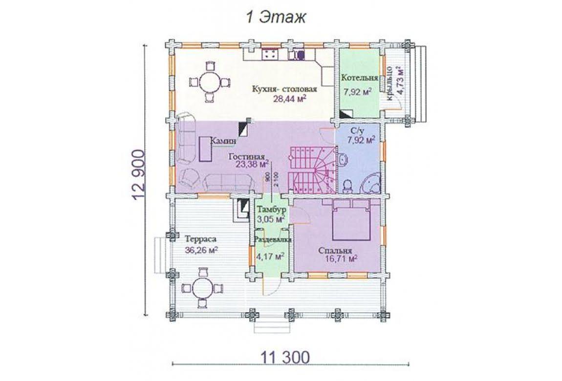 План N1 проекта дома из клееного бруса АСД-Аметист