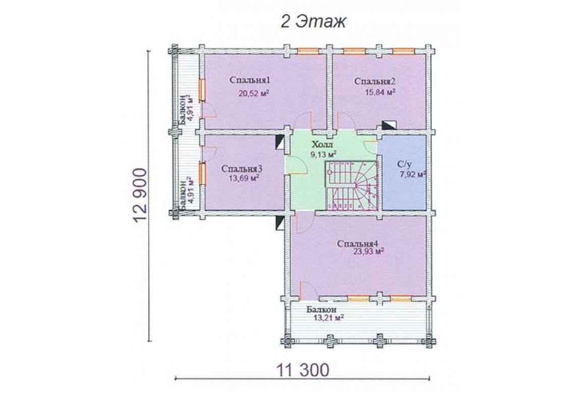 План N2 проекта дома из клееного бруса АСД-Аметист