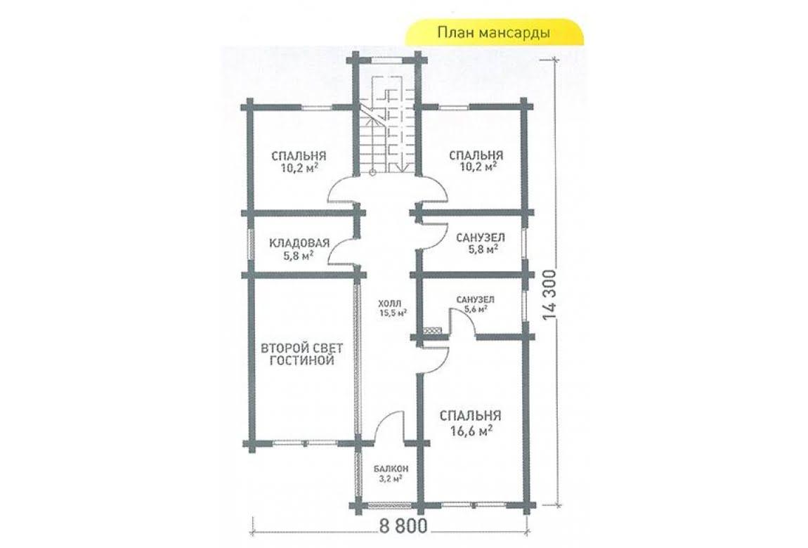 План N2 проекта дома из клееного бруса АСД-Виола