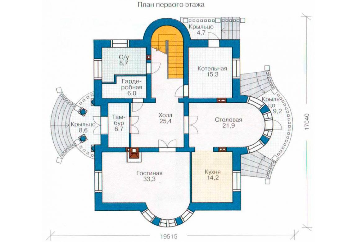 План N1 проекта кирпичного дома АСД-1053