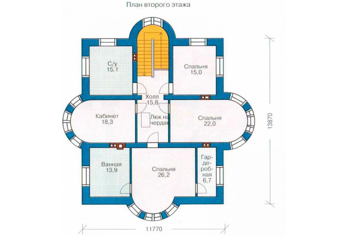 План N2 проекта кирпичного дома АСД-1053