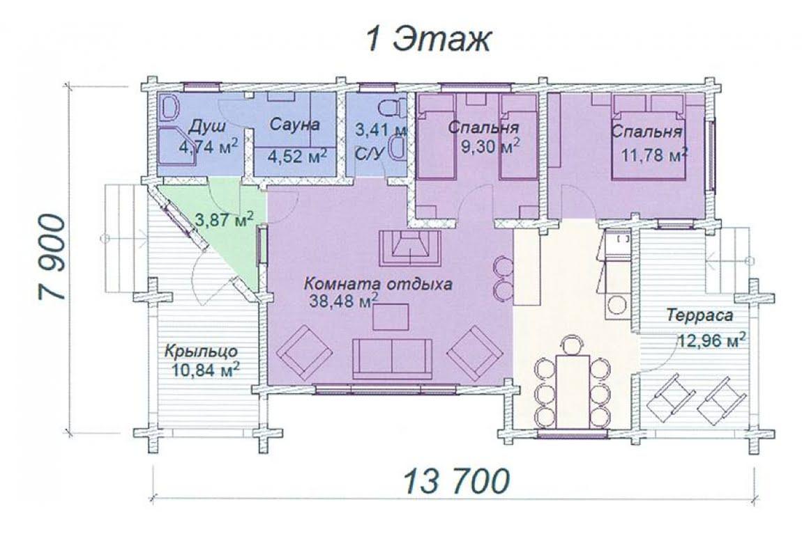 План N1 проекта дома из клееного бруса АСД-Лазурит