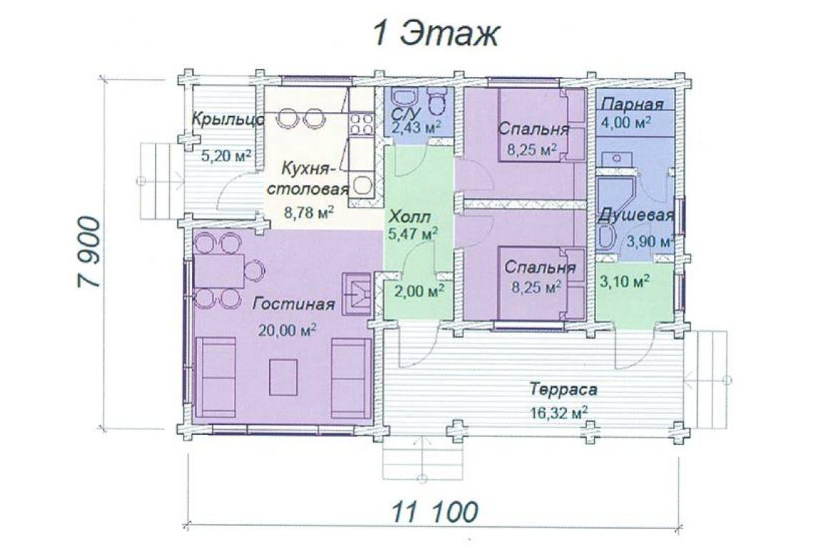 План N1 проекта дома из клееного бруса АСД-Опал