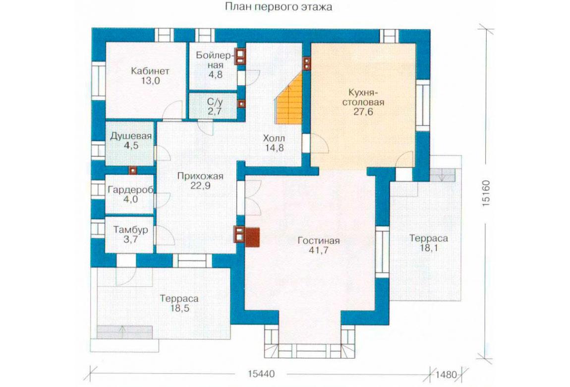 План N2 проекта кирпичного дома АСД-1054