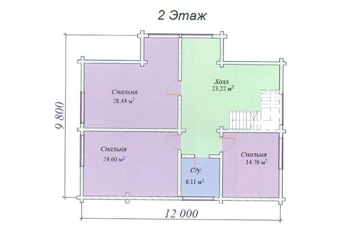 План N2 проекта дома из клееного бруса АСД-Топаз