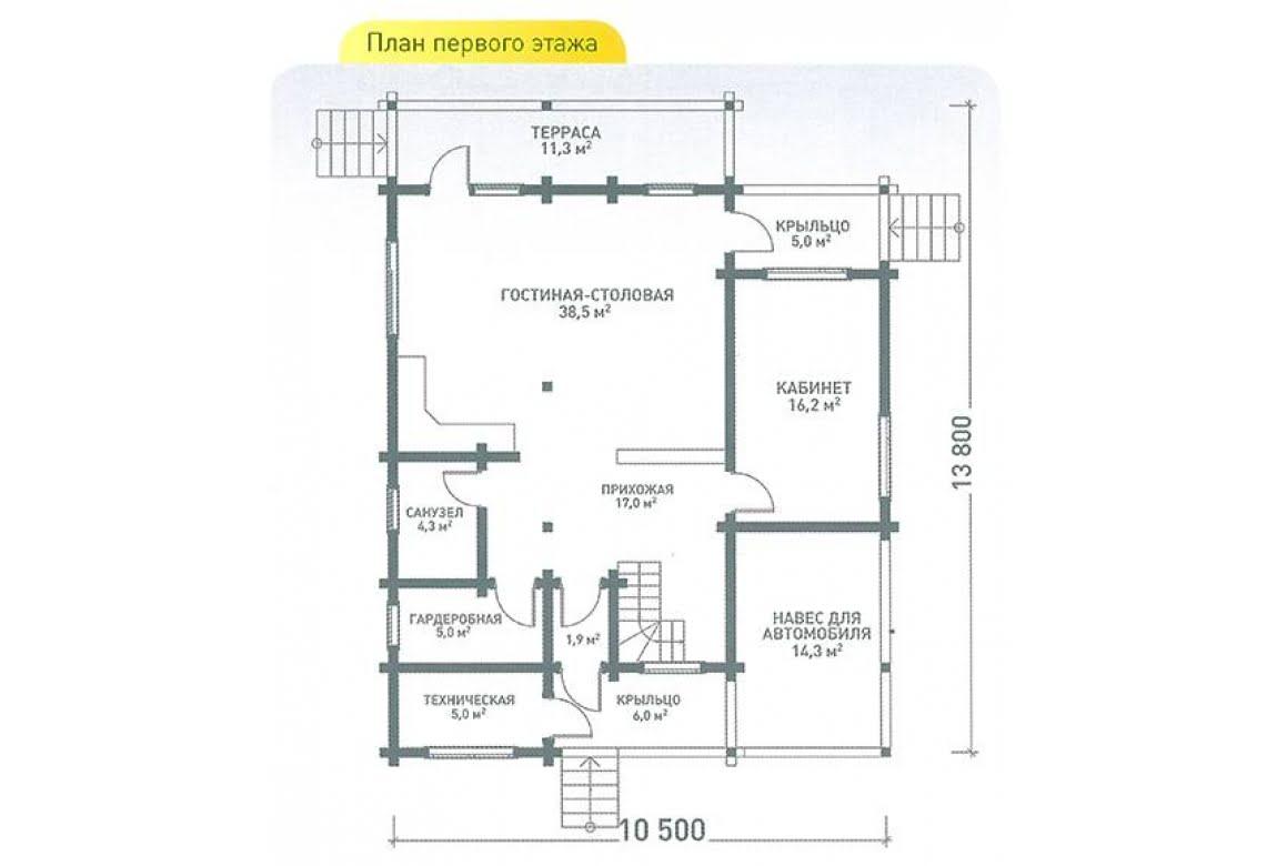 План N1 проекта дома из клееного бруса АСД-Хайтэк