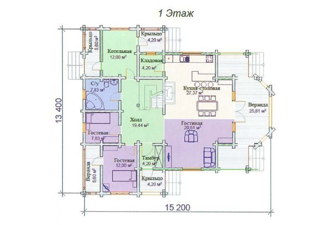 План N1 проекта дома из клееного бруса АСД-Хризолит