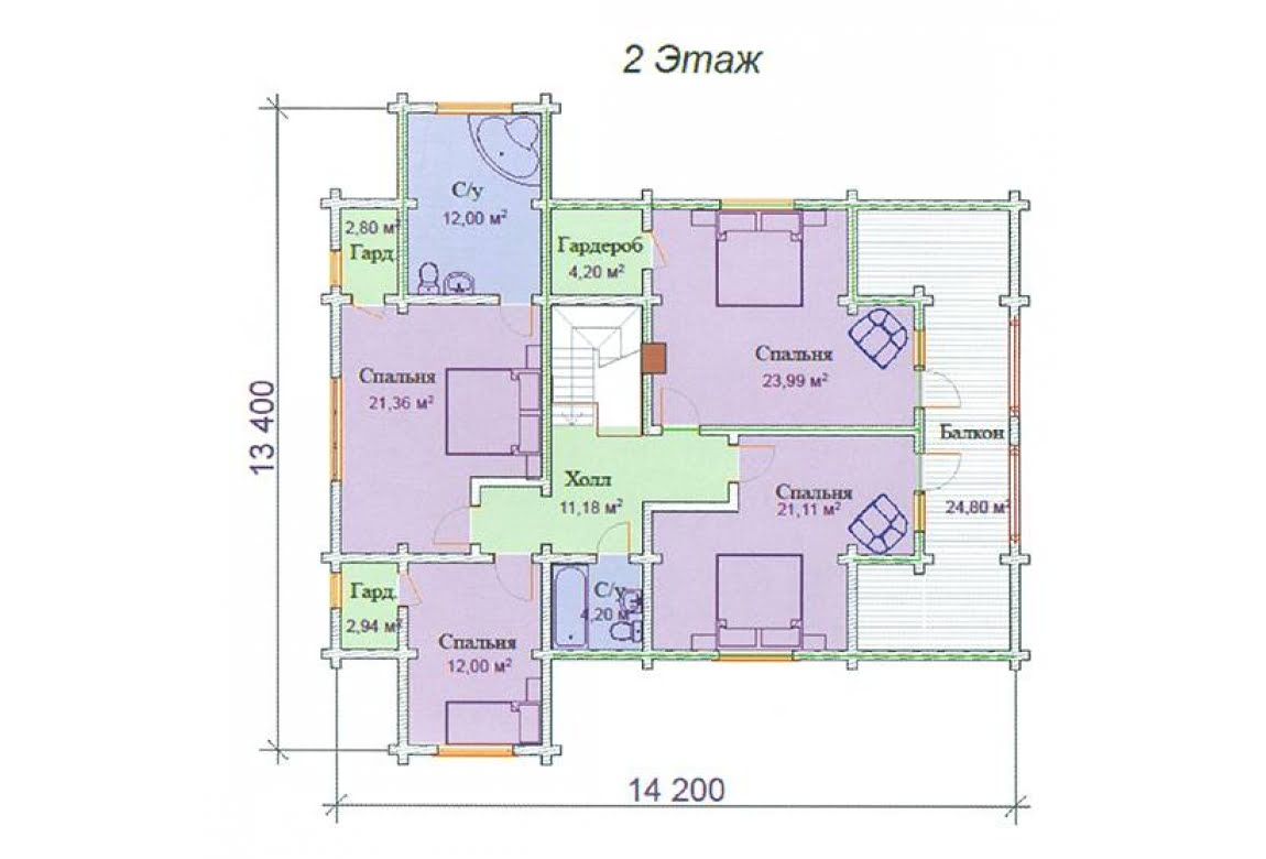 План N2 проекта дома из клееного бруса АСД-Хризолит