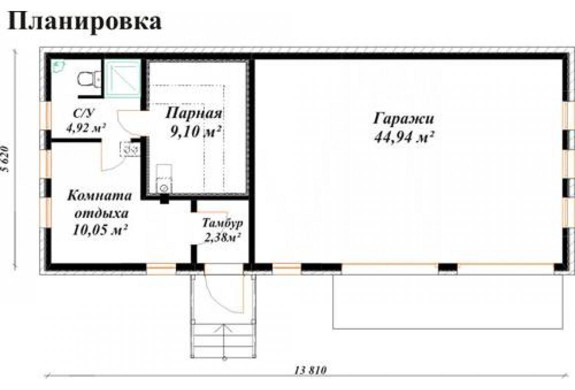 План N1 проекта гаража АСД-Тандем (гараж+баня)
