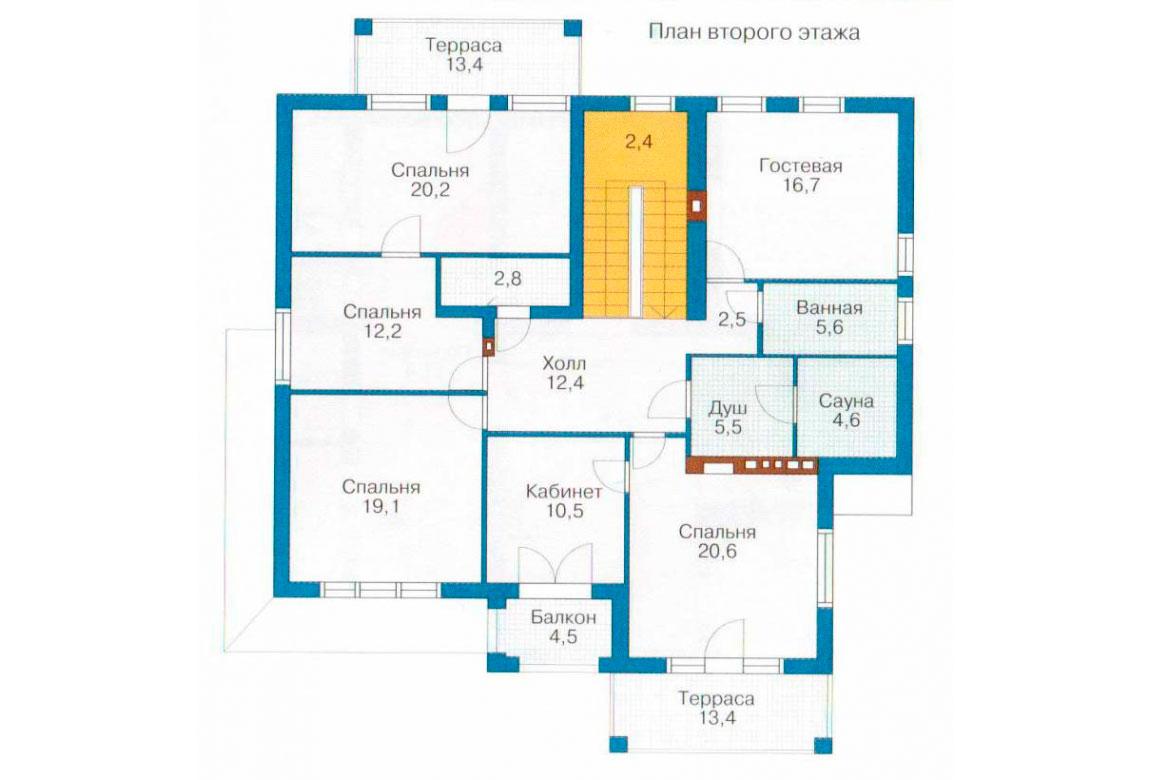 План N1 проекта кирпичного дома АСД-1055