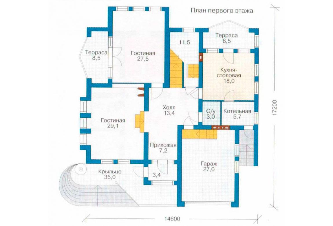 План N2 проекта кирпичного дома АСД-1055