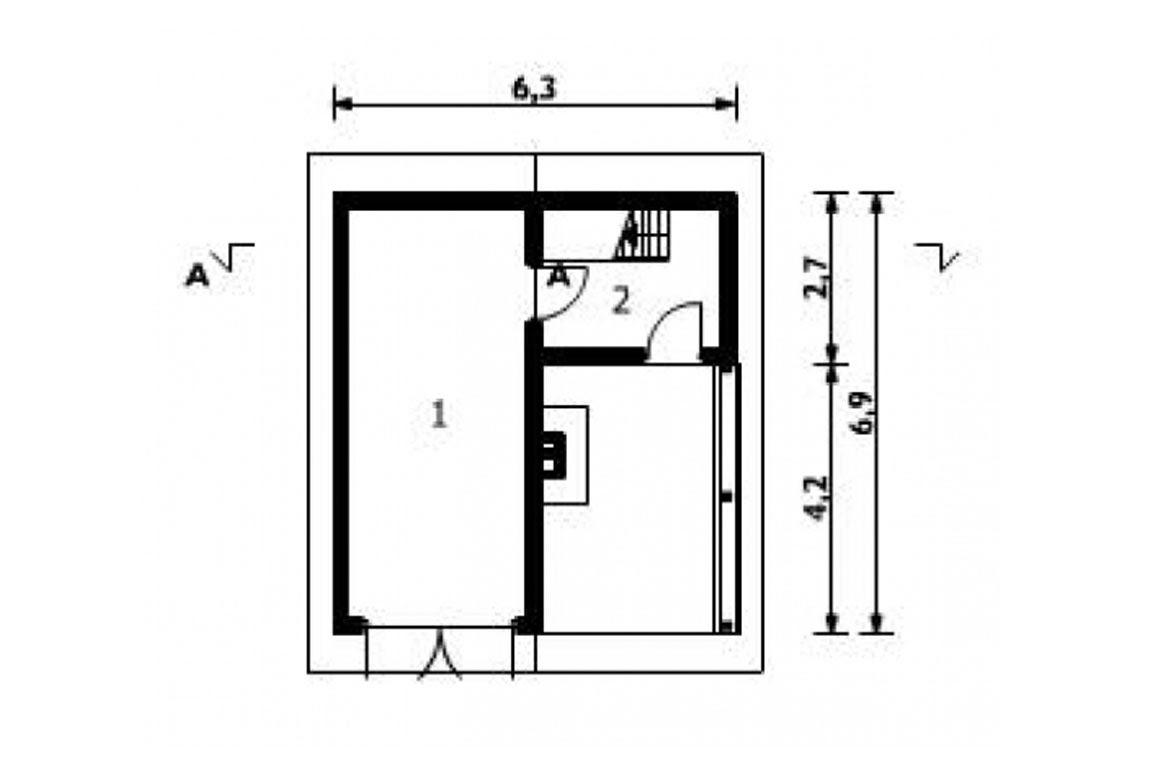 План N1 проекта гаража АСД-1550