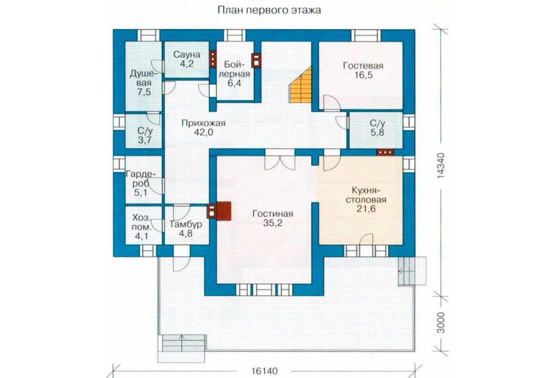 План N1 проекта кирпичного дома АСД-1056