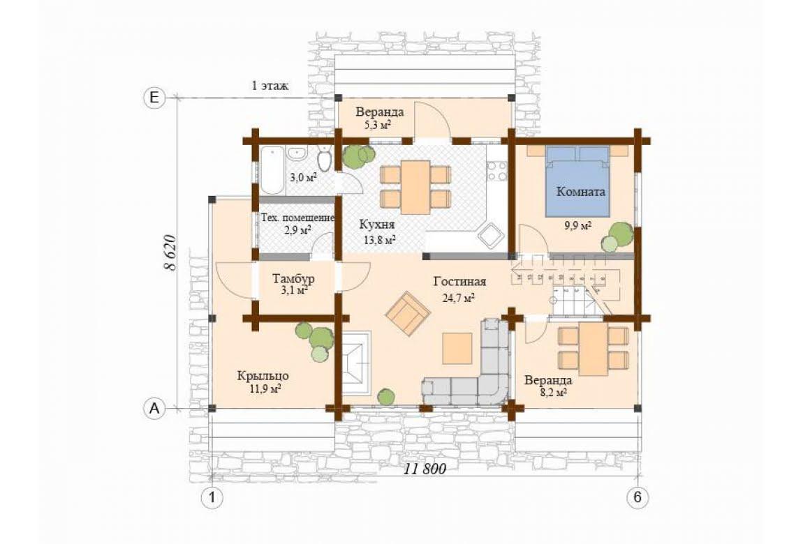 План N1 проекта дома из клееного бруса АСД-Авиньон