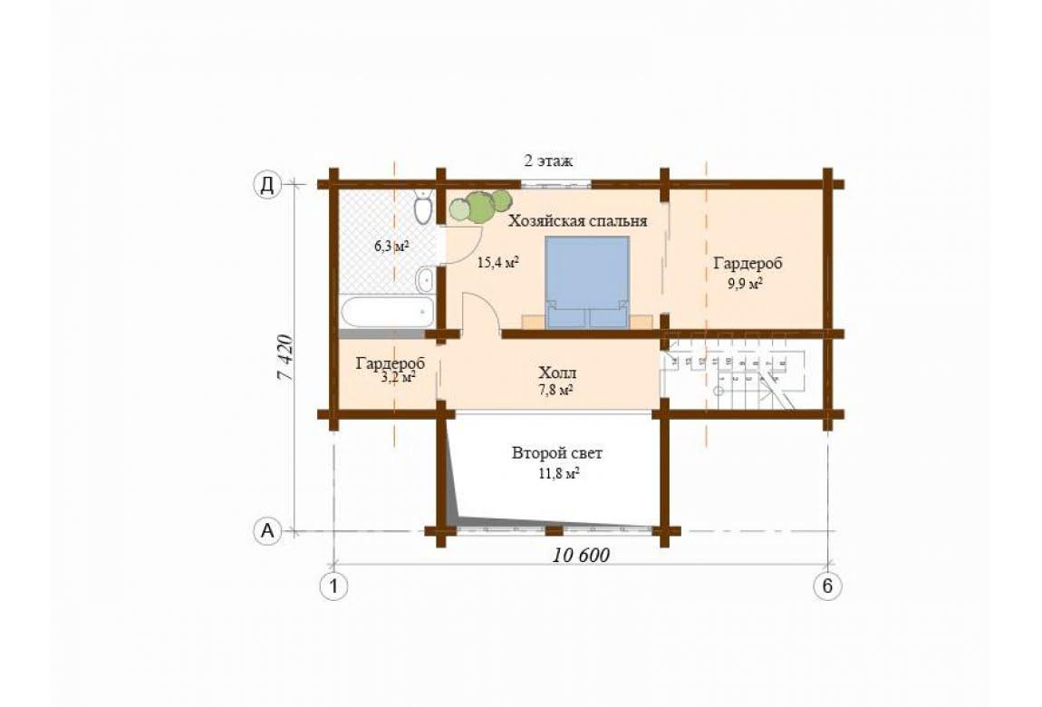 План N2 проекта дома из клееного бруса АСД-Авиньон
