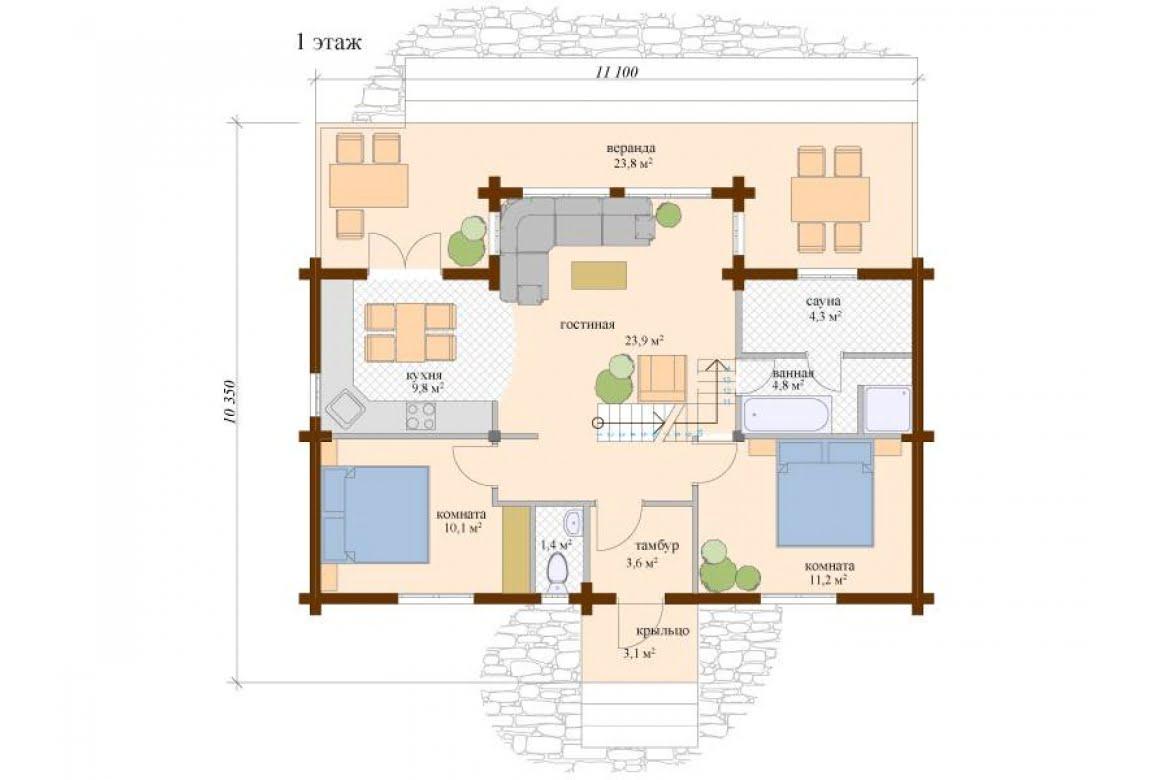 План N1 проекта дома из клееного бруса АСД-Аликанте