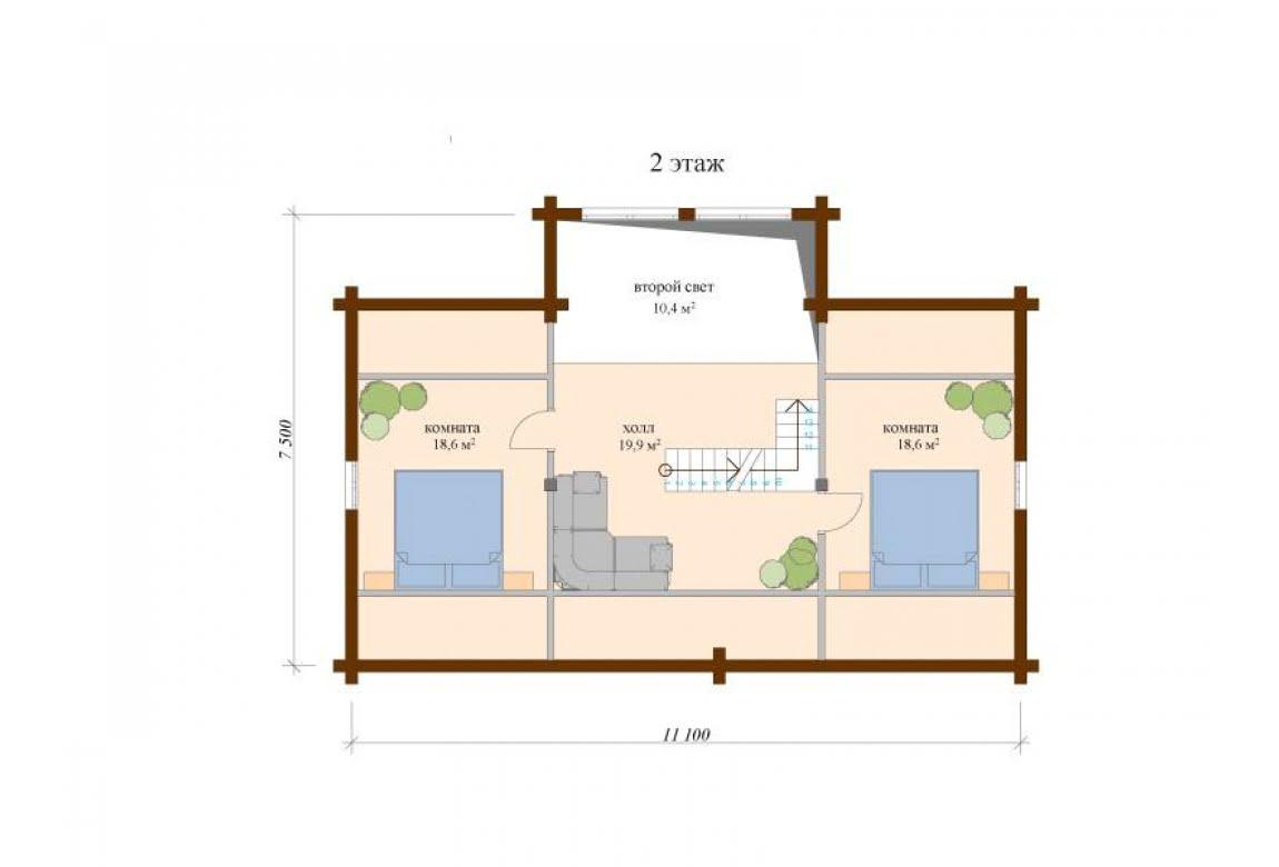 План N2 проекта дома из клееного бруса АСД-Аликанте