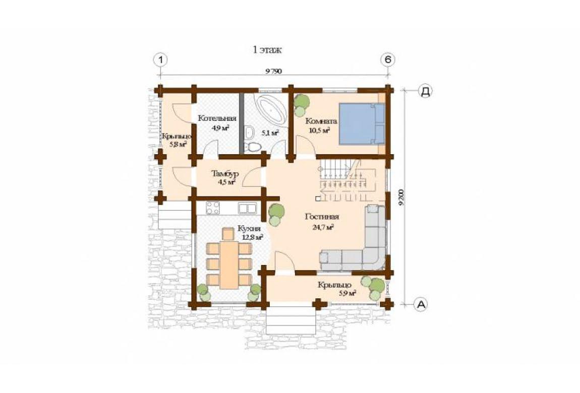 План N1 проекта дома из клееного бруса АСД-Бремен