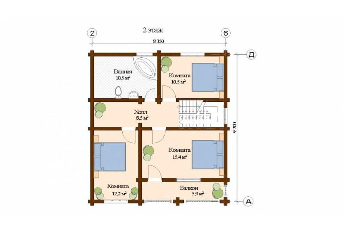 План N2 проекта дома из клееного бруса АСД-Бремен