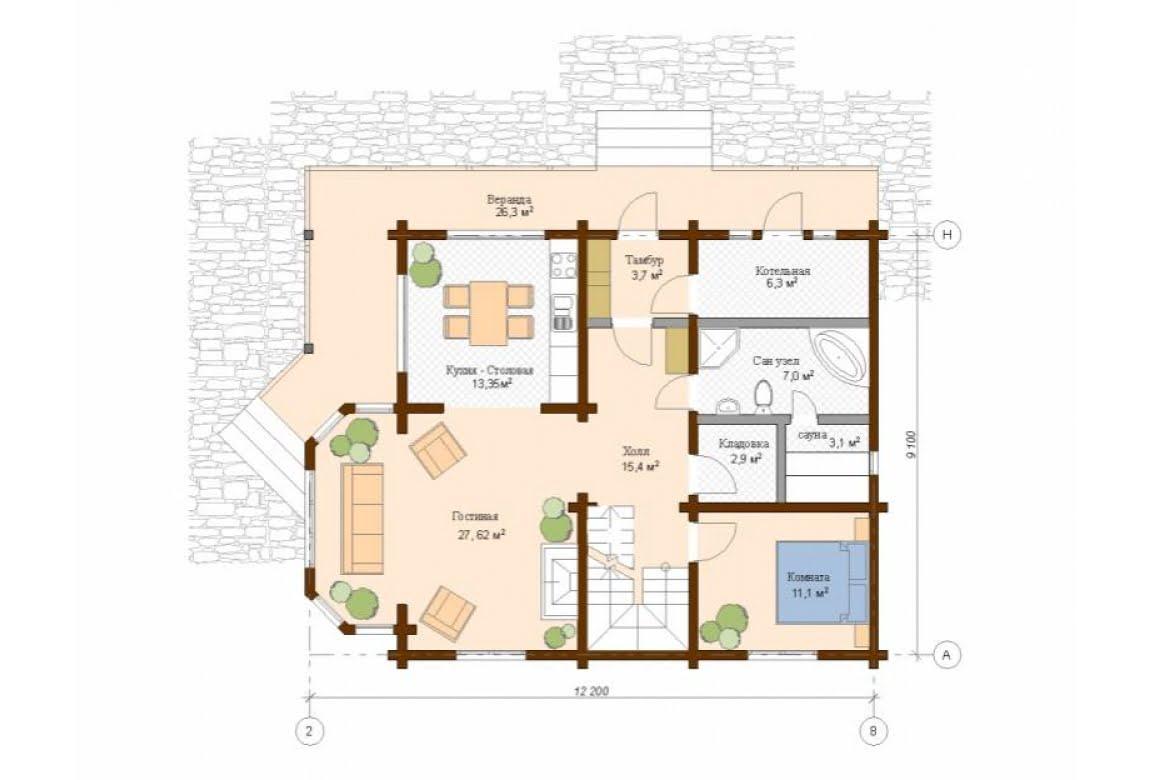 План N1 проекта дома из клееного бруса АСД-Вена