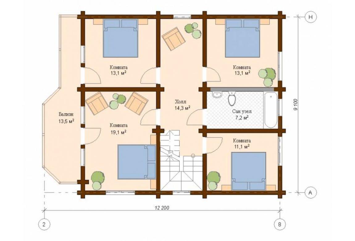 План N2 проекта дома из клееного бруса АСД-Вена
