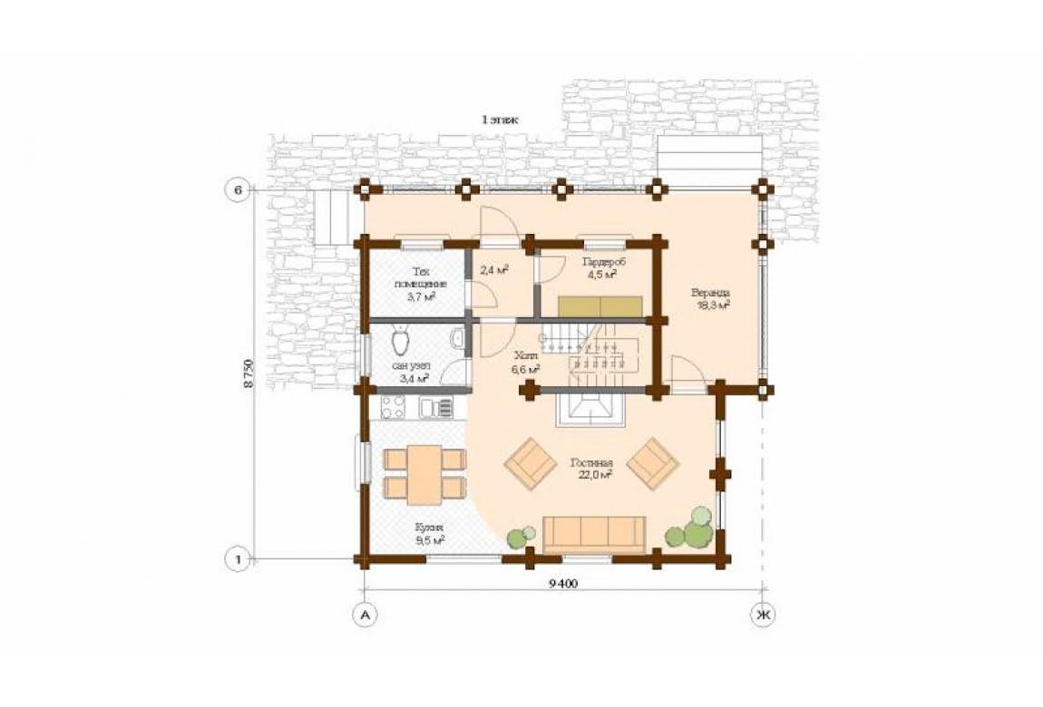 План N1 проекта дома из клееного бруса АСД-Венеция