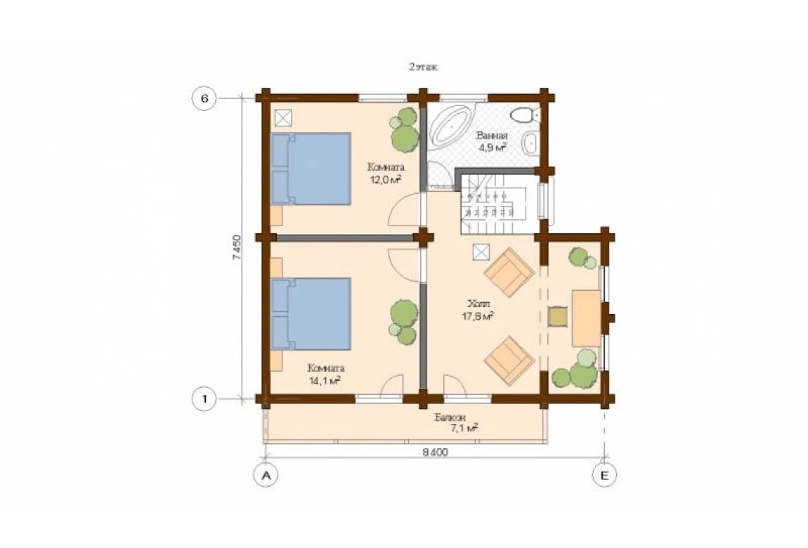 План N2 проекта дома из клееного бруса АСД-Венеция