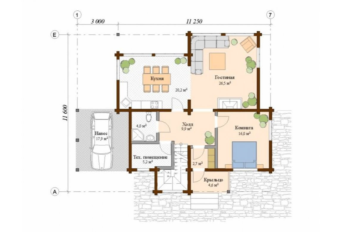 План N1 проекта дома из клееного бруса АСД-Галеон