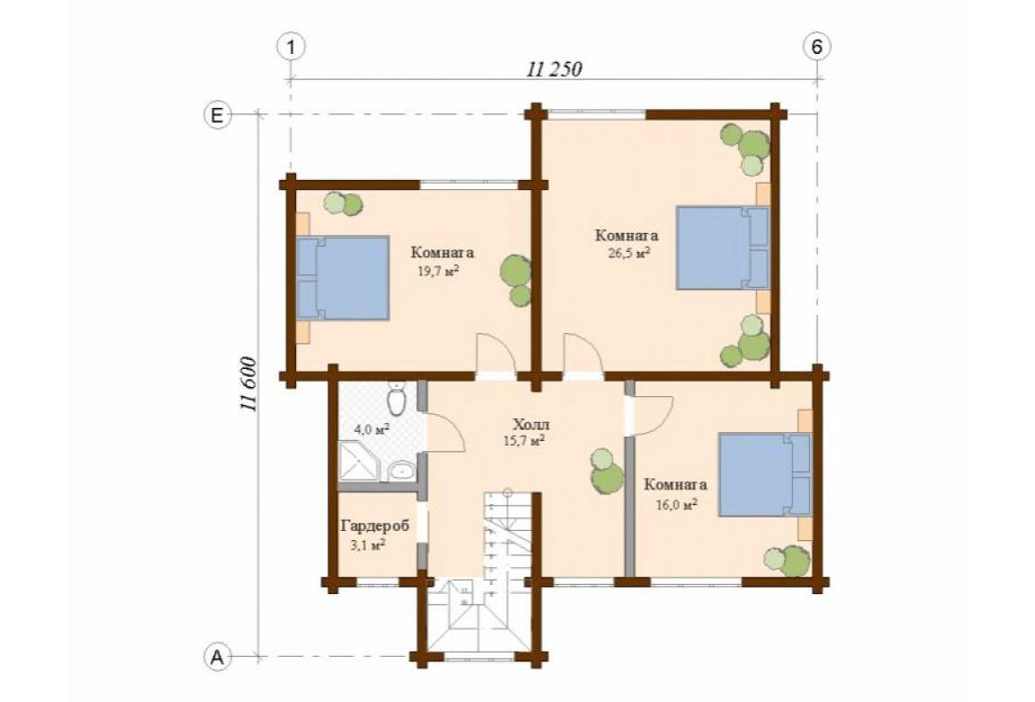 План N2 проекта дома из клееного бруса АСД-Галеон