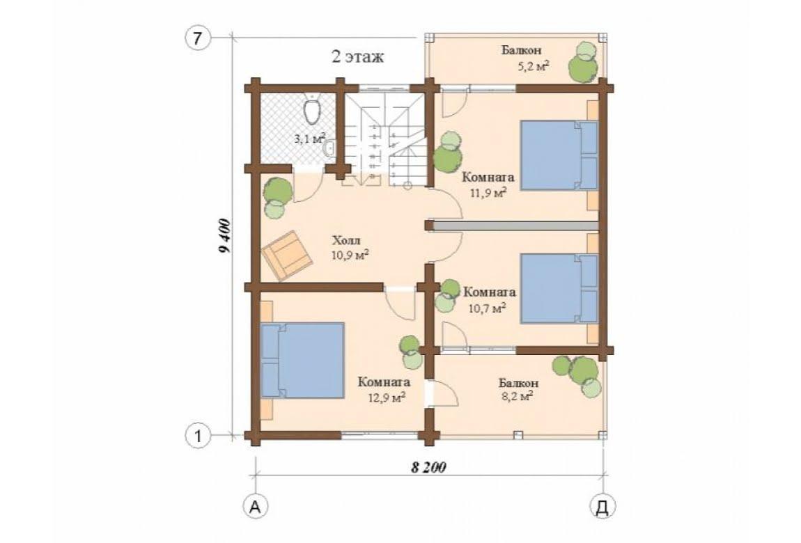 План N2 проекта дома из клееного бруса АСД-Гамбург