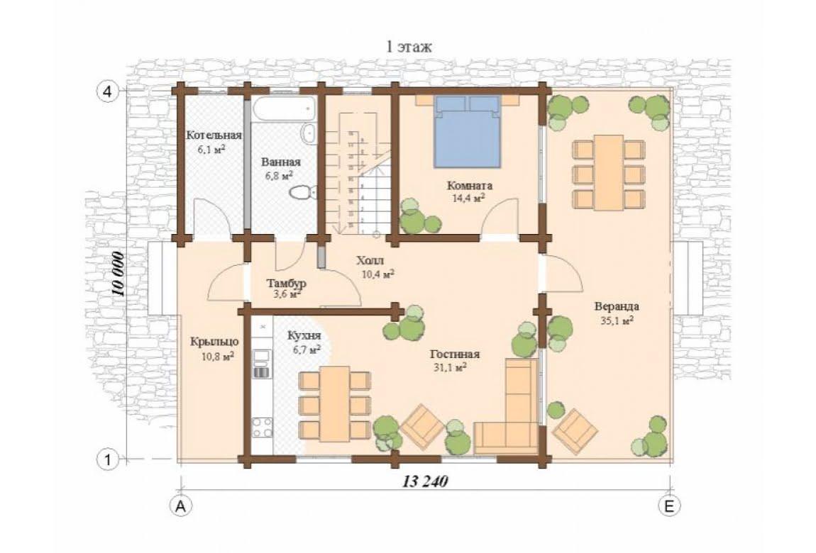 План N1 проекта дома из клееного бруса АСД-Глазго
