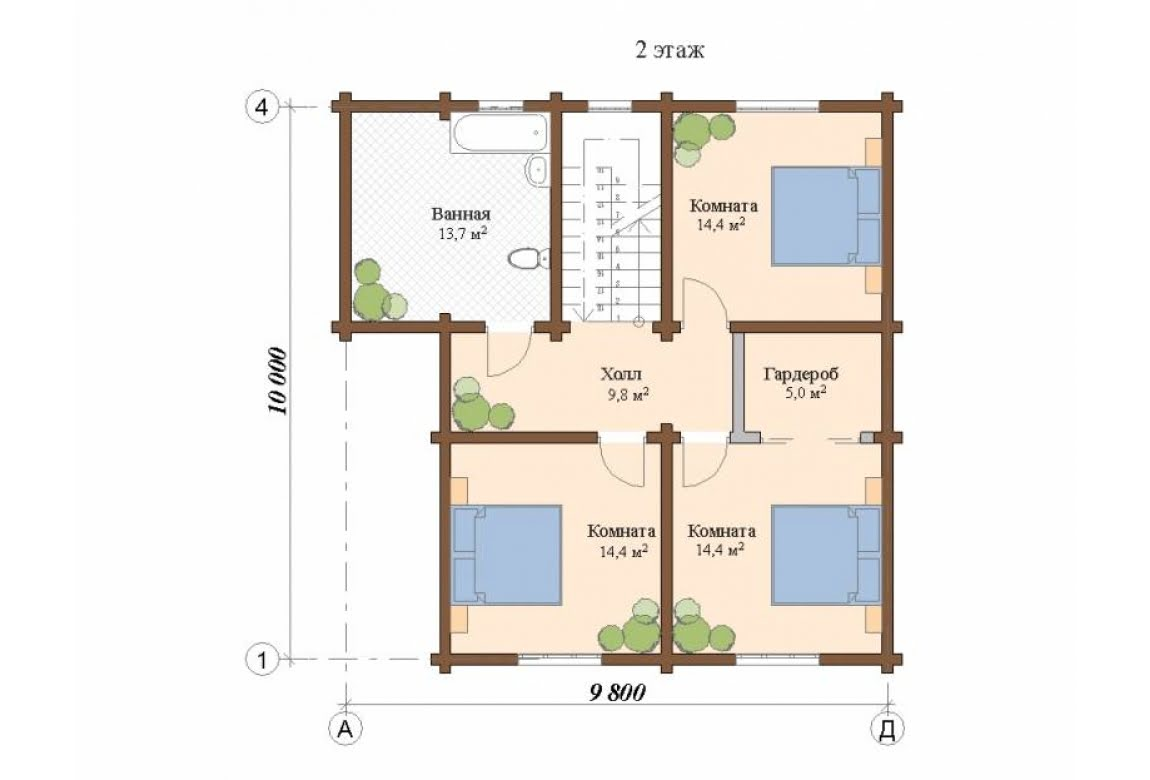 План N2 проекта дома из клееного бруса АСД-Глазго