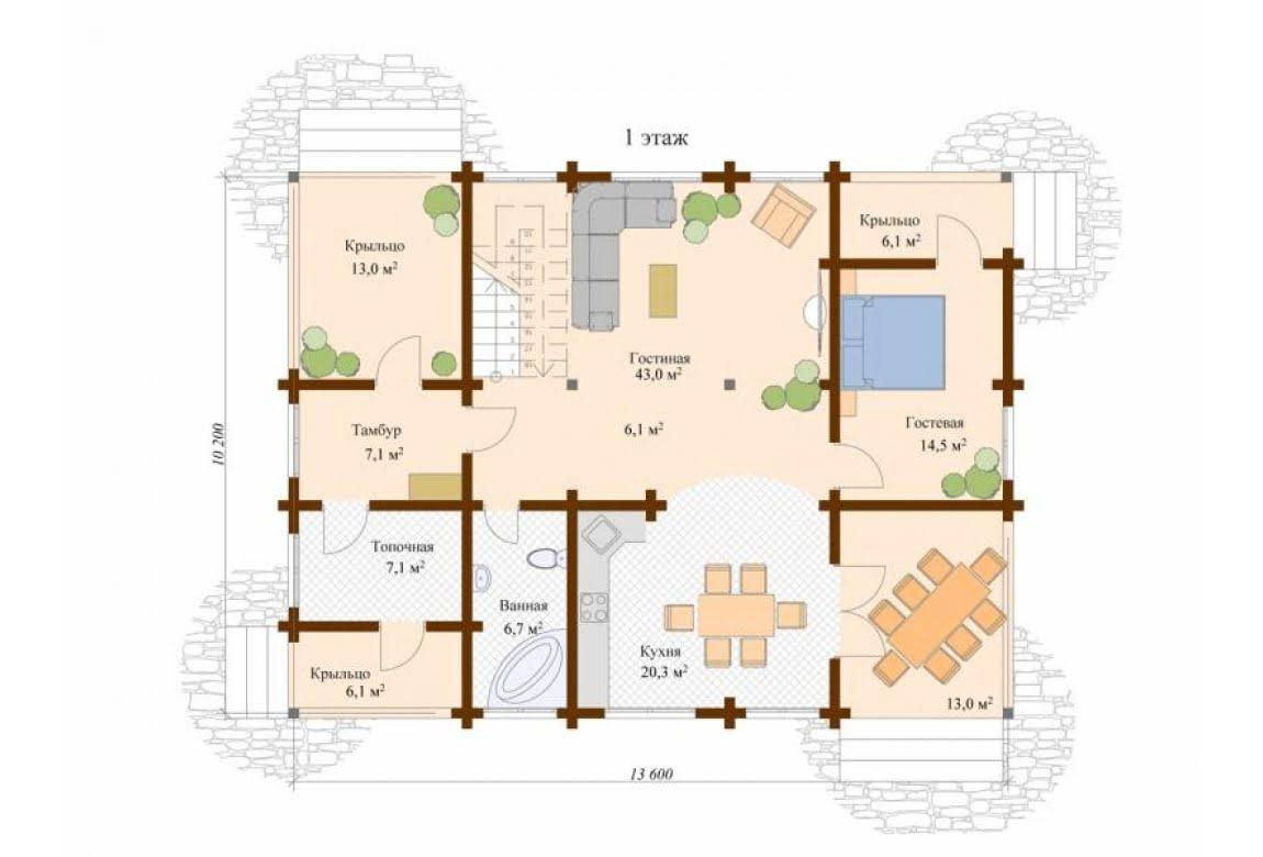 План N1 проекта дома из клееного бруса АСД-Модена
