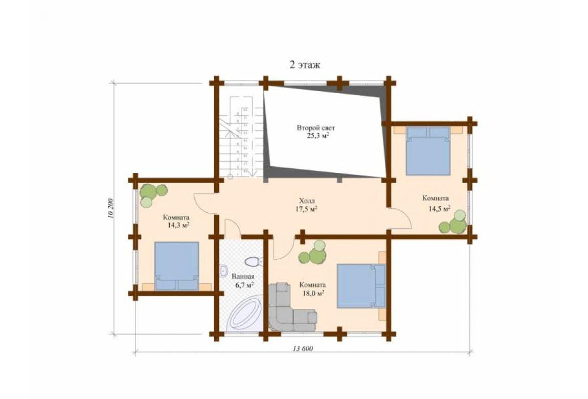 План N2 проекта дома из клееного бруса АСД-Модена