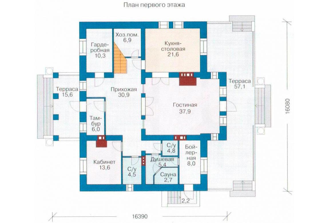 План N1 проекта кирпичного дома АСД-1058
