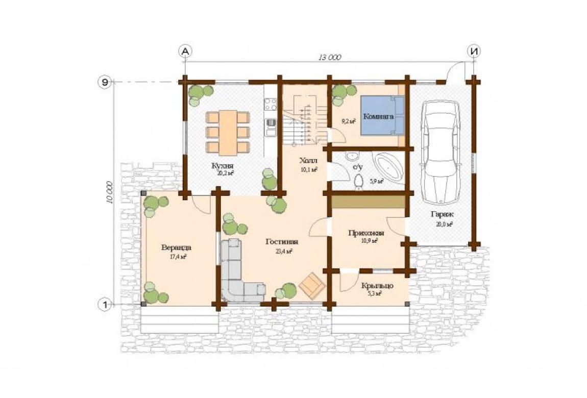 План N1 проекта дома из клееного бруса АСД-Палермо