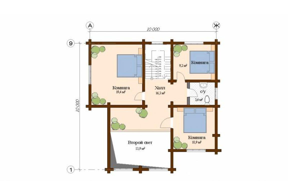 План N2 проекта дома из клееного бруса АСД-Палермо