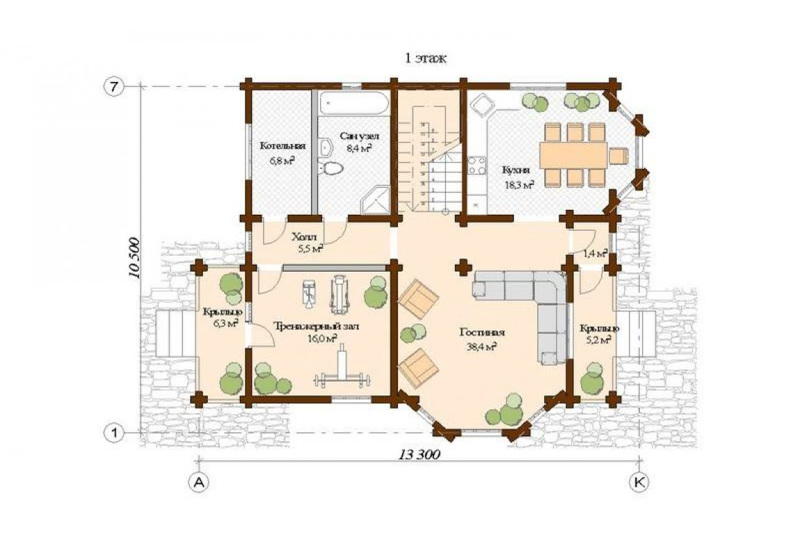 План N1 проекта дома из клееного бруса АСД-Рига