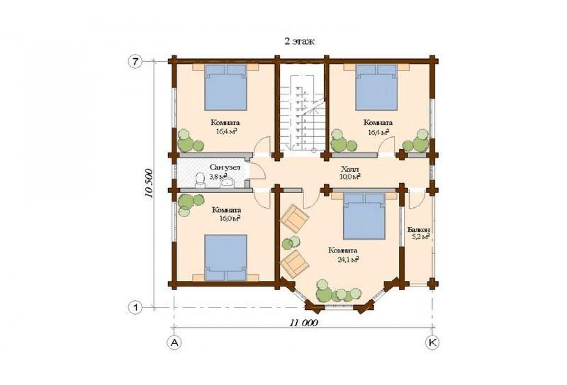 План N2 проекта дома из клееного бруса АСД-Рига