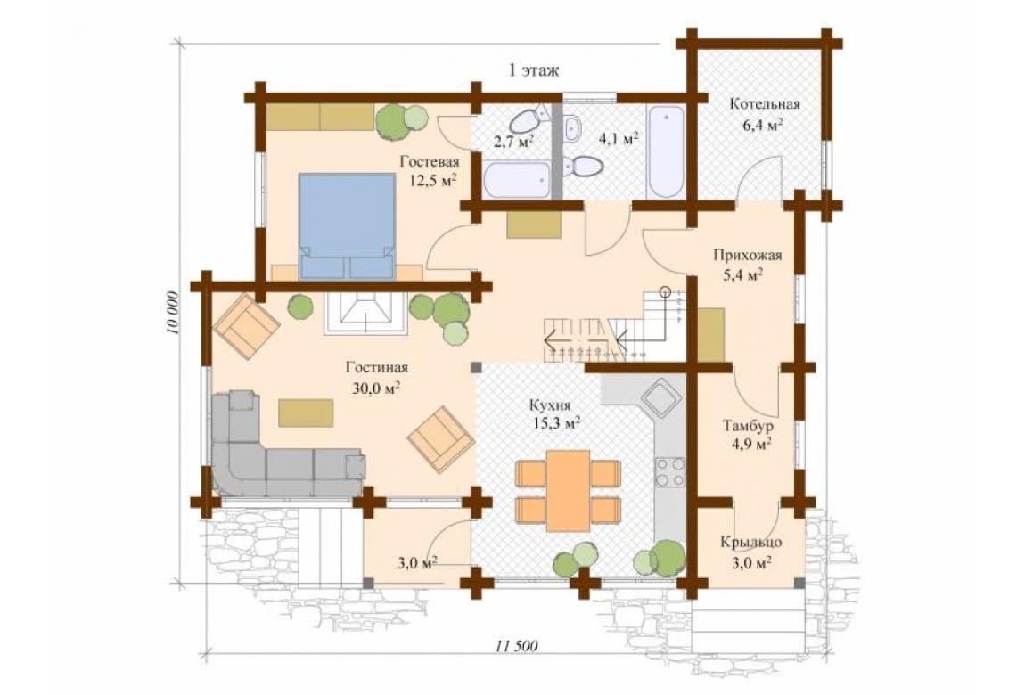 План N1 проекта дома из клееного бруса АСД-Стокгольм