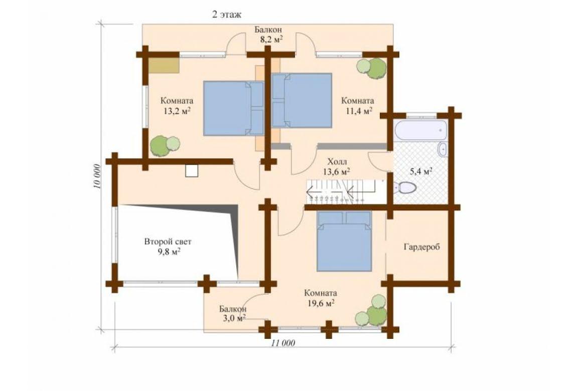 План N2 проекта дома из клееного бруса АСД-Стокгольм