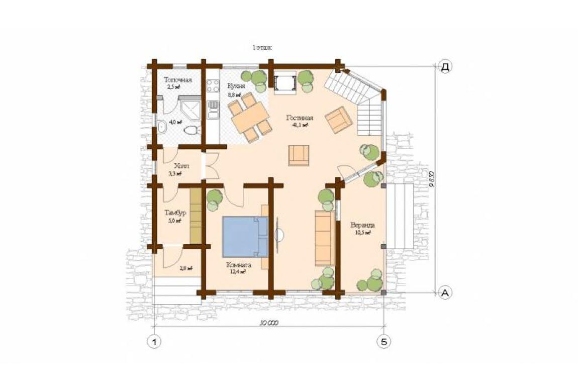 План N1 проекта дома из клееного бруса АСД-Турин