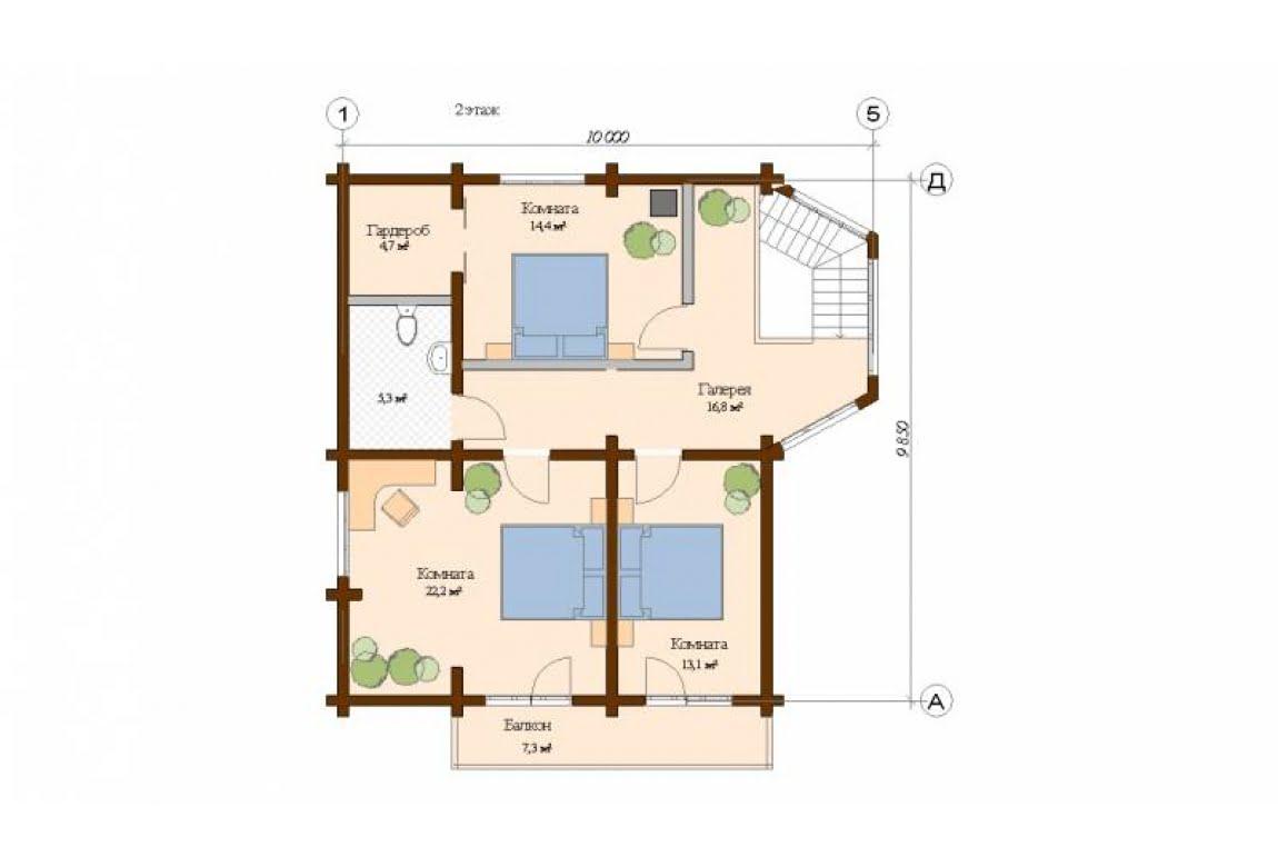 План N2 проекта дома из клееного бруса АСД-Турин