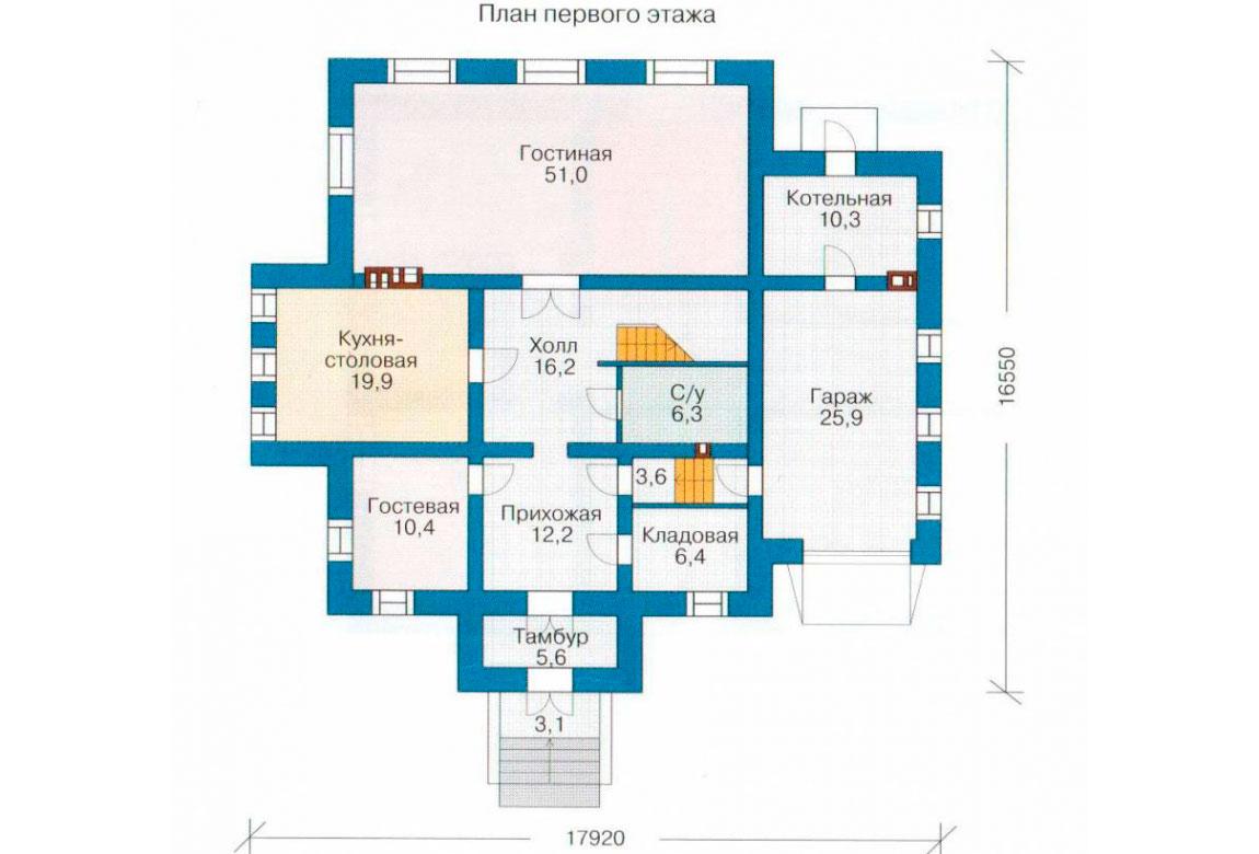 План N2 проекта кирпичного дома АСД-1059