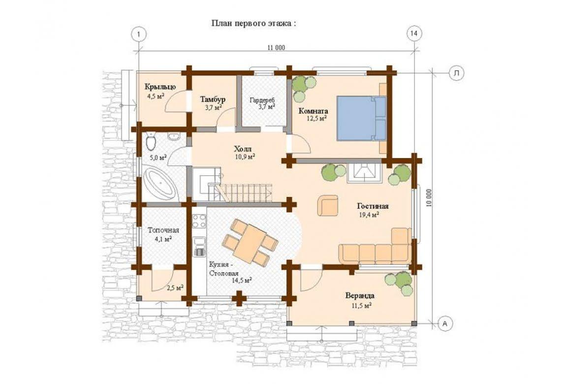 План N1 проекта дома из клееного бруса АСД-Шале